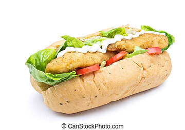 Fried Chicken Sub sandwich from low perspective isolated on...