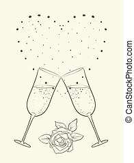champagne and rose with heart background