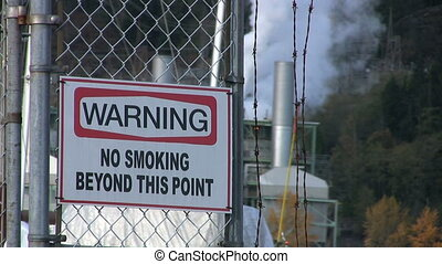 "Warning No Smoking Sign - A ""Warning - No Smoking"" sign..."