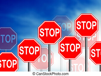 Stop Road Sign - Multiple stop road sign on cloud...