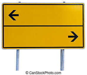 yellow direction sign (clipping path included) - yellow...