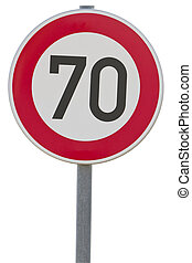 german speed limit sign - 70 kmh clipping path included -...