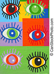 Colorful graffiti spray painted funny eyes on the decorated...