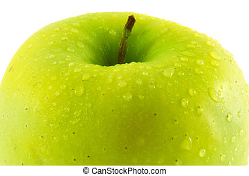 Green fresh apple. Macro. isolated white
