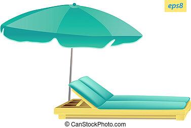 parasol - beach umbrella and chaise