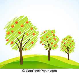 abstract trees with fruits