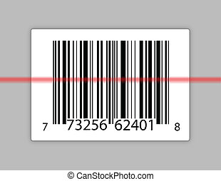 barcode with a laser scanning it - A typical product barcode...