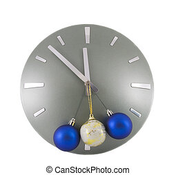 Clock (5 minutes to 12) over white with color Christmas balls