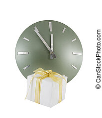 Clock (5 minutes to 12) with gift box over white
