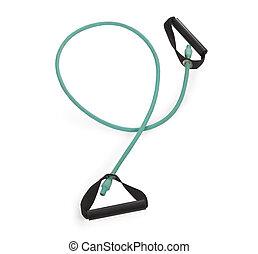 Green fitness expander equipment over white