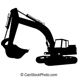 Excavator - Silhouette of the excavator Construction of a...