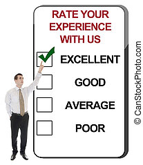 Rate your experience with us - Business man pointing Rate...