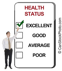 Health Status - Business man pointing Health Status