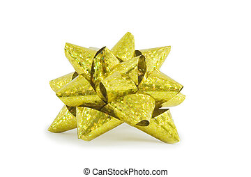 yellow holiday bow on white background