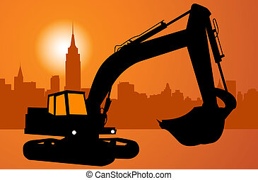 Silhouette of the excavator. City and construction