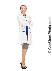 attractive female doctor with stethoscope - picture of...