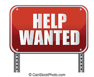 red help wanted sign illustration