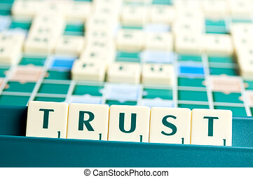 Trust word with scrabble pieces