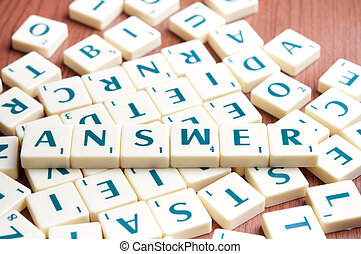 Answer word with scrabble pieces