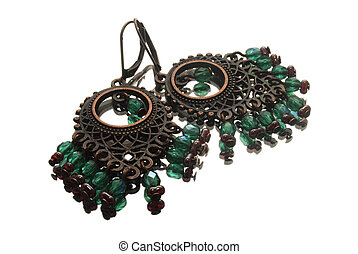 handmade earrings with gemstones in gipsy style