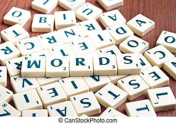Words made by scrabble pieces