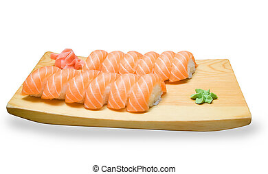 set of Japanese sushi on a wooden plate