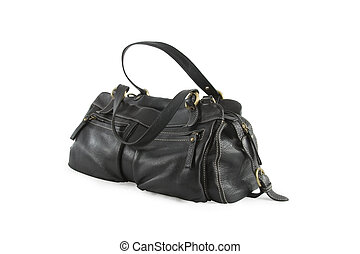 Black leather woman bag isolated over white