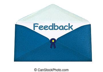 Feedback letter in blue envelope