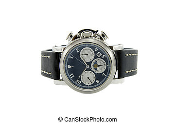 Rich silver chronograph watch with sapphire glass in white...