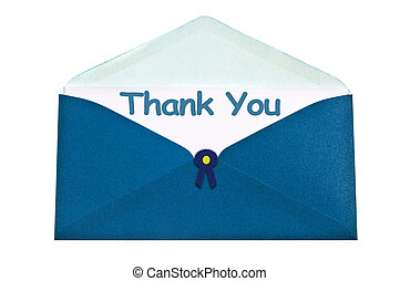 Thank you letter in blue envelope