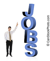 Jobs word and business man - Business man pointing on word...