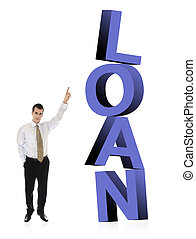 Loan word and business man - Business man pointing on word...