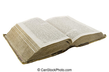 Very old vintage bible open for reading isolated over white...