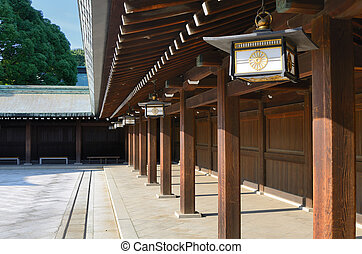 Temple at Meiji Shrine - Temple detail at Meiji Shrine in...