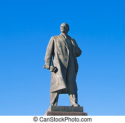 Statue of Lenin in Volgograd over big blue sky