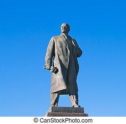 estatua, Lenin, Volgograd, encima, grande, azul, cielo