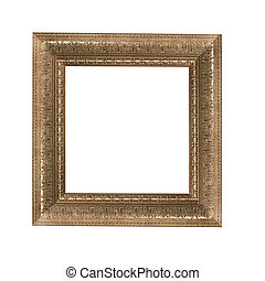 old antique brown frame over white background