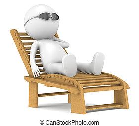 3D little human character relaxing. - 3D little human...