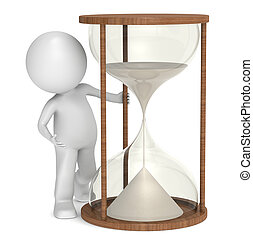 Time. - 3D little human character with a Hourglass