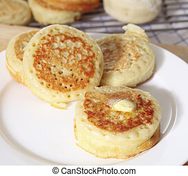 Buttered English crumpets - Traditional English homemade...