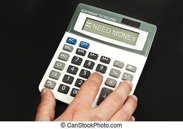 Need money word on electronic calculator