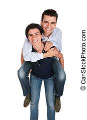 Sister gives piggyback
