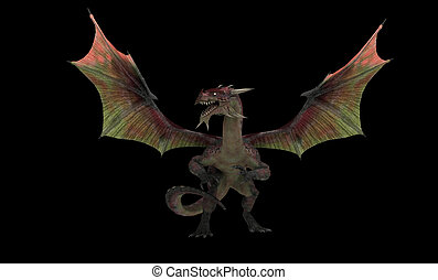 Red dragon - red dragon isolated on black background