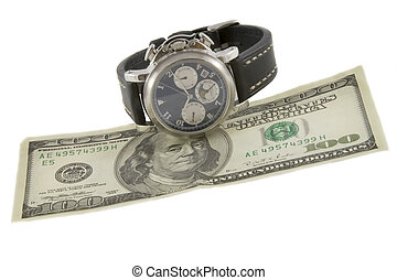 Time is money Watch and hundred dollars banknote