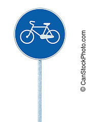 Bicycle lane sign indicating bike route, large blue round...