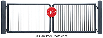 Grunge Aged Weathered Road Barrier Gate And Stop Sign, Old Rusty Black Isolated