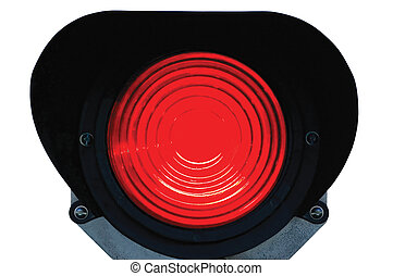 Red light railway traffic dwarf signal set at stop / danger,...