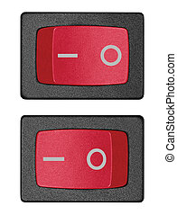 Red power switch in on off position, isolated macro closeup