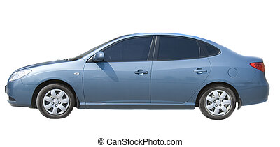 Blue sedan isolated on white background - Blue sedan...
