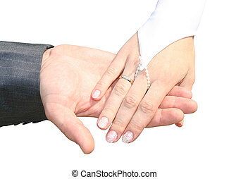 Man and woman wedding hands